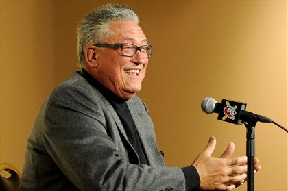 1112mhBUCSHurdle03-2 Clint Hurdle speaks to the press after winning the Manager of the Year Award by the Baseball Writers Association of America on Tuesday.