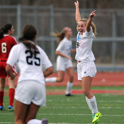 1109mhSenecaVPetersZoneSpor.1.jpg MaryKate Zahorchak celebrates after the Raiders scored their first goal against Peters Township Saturday in the PIAA quarterfinals.