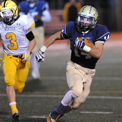 20131101JHSportsFootball12.jpg Franklin Regional's Paul Emanuele, being pursued by Montour's Tom Sylvester during a WPIAL first-round playoff game, has played a key role in the Panthers' unexpected success this season.