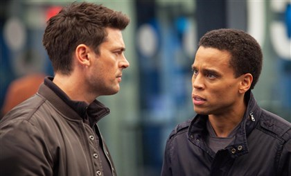 "Human Karl Urban and Michael Ealy star in ""Almost Human."""