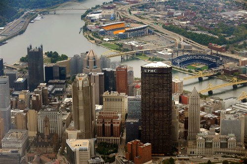 An aerial photograph of Downtown Pittsburgh.