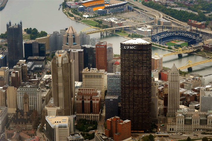 UPMCAerialDowntown The Pittsburgh Downtown Partnership will offer rooftop tours of the 64-story U.S. Steel Tower, the city's tallest building, and tours of three other buildings as part of events this week celebrating the city's revitalization.