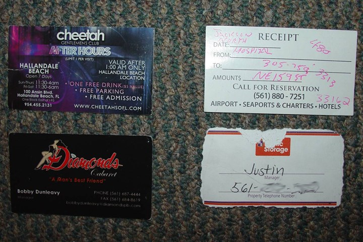 20131113hoKoniasCards1 Investigators found in Kenneth Konias' possession several business cards, including some for after-hours clubs. This photo was submitted as evidence in Mr. Konias' trial.