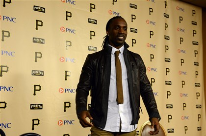 20131114bwAndrewSpts04-3 Bill Wade/Post-Gazette Pittsburgh, PA November 14, 2013 -- Pittsburgh Pirates' center fielder Andrew McCutchen speaks to the media after winning the National League Most Valuable Player Award. sports and local