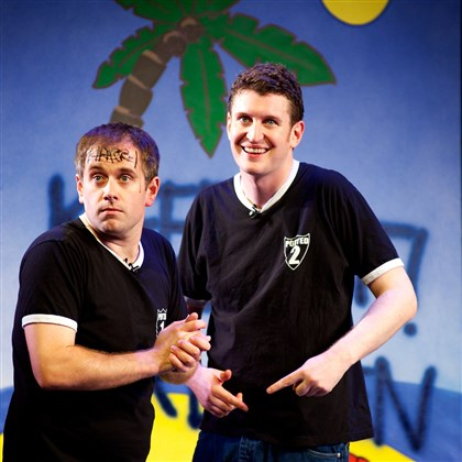 "Jefferson Turner, left, and Daniel Clarkson Jefferson Turner, left, and Daniel Clarkson created the ""Potted Potter"" parody, playing at the Byham with other actors this week."