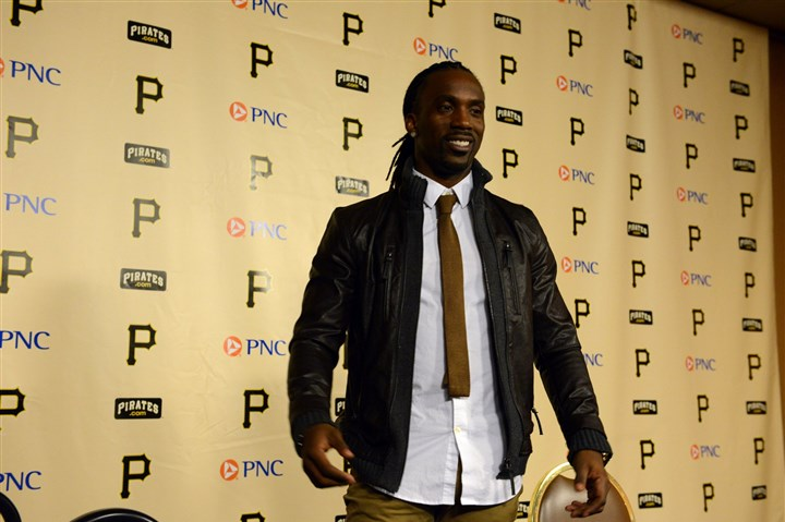 20131114bwAndrewSpts04-3 Pirates center fielder Andrew McCutchen speaks to the media Thursday after winning the National League Most Valuable Player Award.