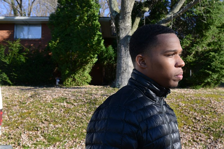 20131114dsUmphreyShootingLocal01 Andre Umphrey, 20, of Sheraden, talks about his brother, Andrew, who was one of three students shot along Crane Avebue near Pittsburgh Brashear High School in Beechview.