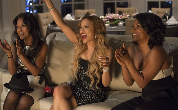 "TheBestManHoliday1-8 From left, Monica Calhoun, Melissa De Sousa and Nia Long in ""Best Man Holiday."""