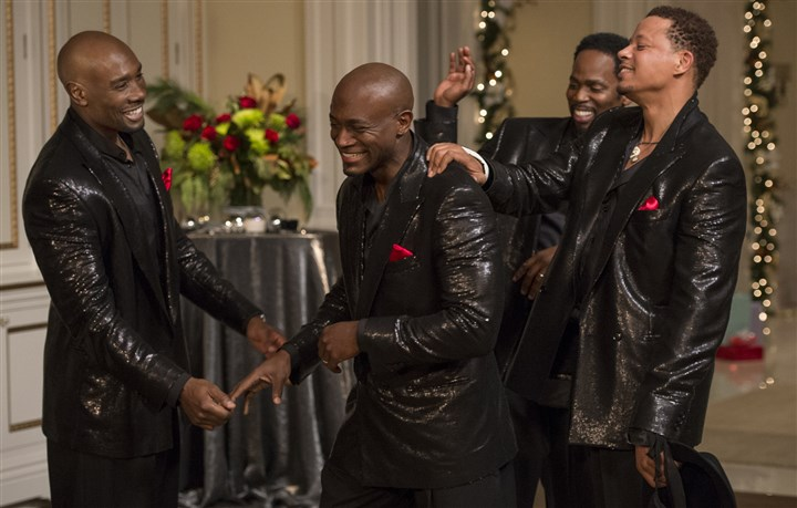 "TheBestManHoliday5-9 From left, Morris Chestnut, Taye Diggs, Harold Perrineau and Terrence Howard in ""The Best Man Holiday."""