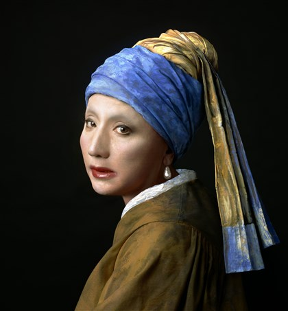 "Vermeer1 ""Vermeer Study: Looking Back (Mirror)"" by Yasumasa Morimura."