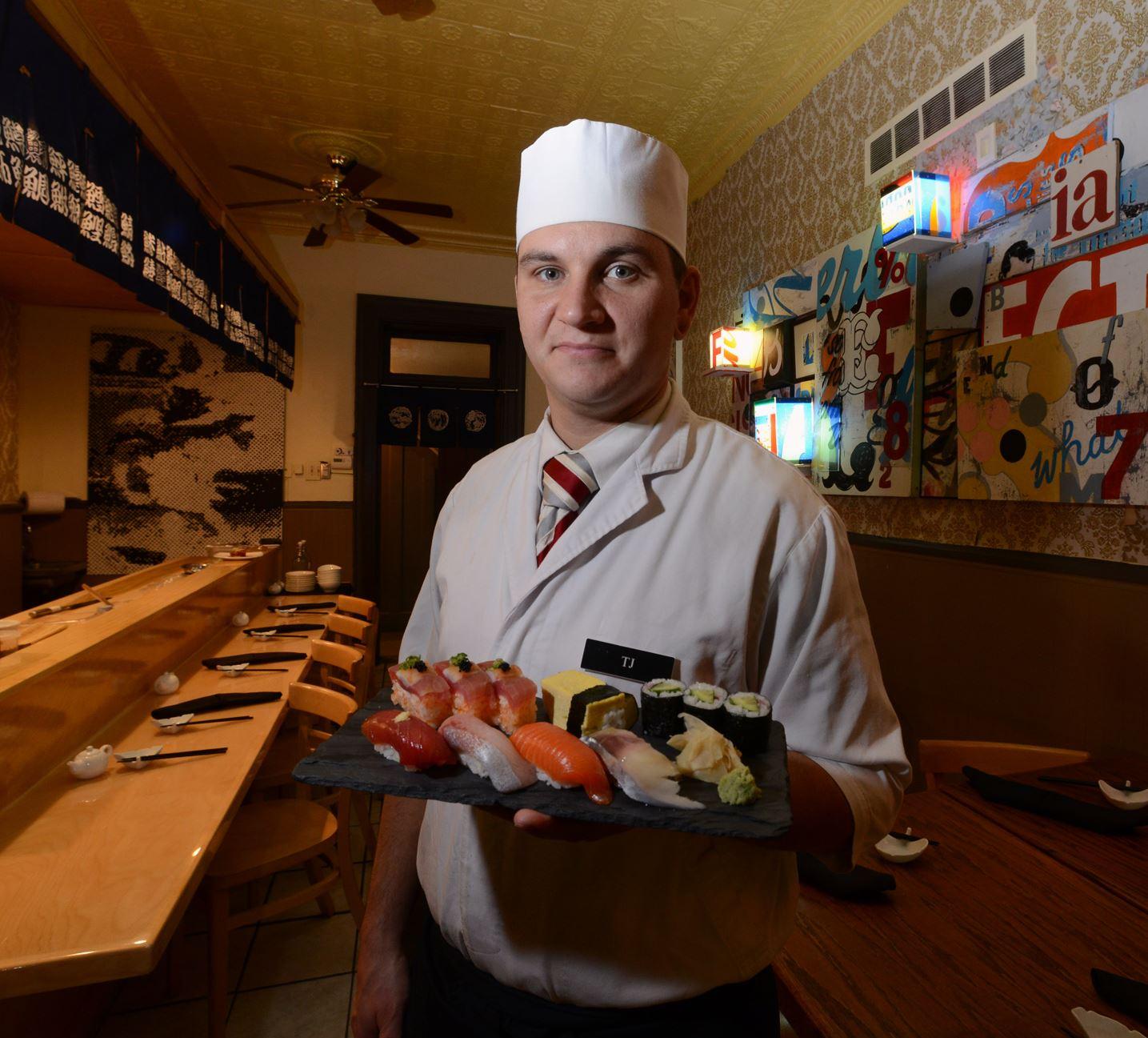 20131115bwFukudaMag03-2 Chef T.J. Barney at Fukuda in Bloomfield.
