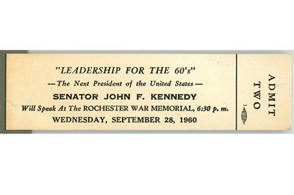 21031117Kennedyticket Charles McCollester's ticket to JFK's campaign speech on Sept. 28, 1960.