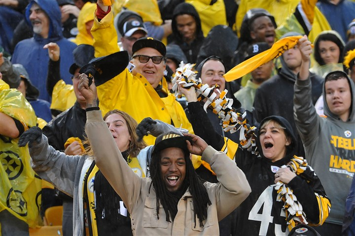 20131117lrsteelerslions22-17 Fans celebrate after the extra point was was kicked following the go-ahead touchdown by the Steelers over the Lions at Heinz Field in November.