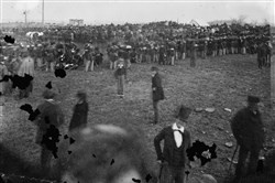 The crowd assembled for President Abraham Lincoln's address Nov. 19, 1863, at the dedication of the Gettysburg National Cemetery.