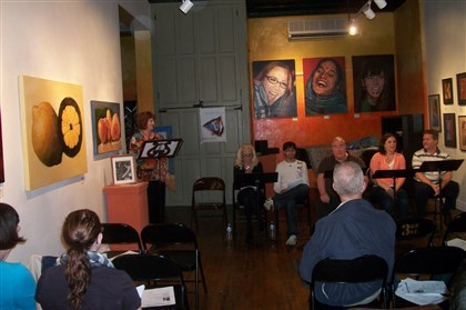 "Tonight Actors read from scripts at a ""Third on Third"" gathering at the Third Street Gallery in Carnegie"