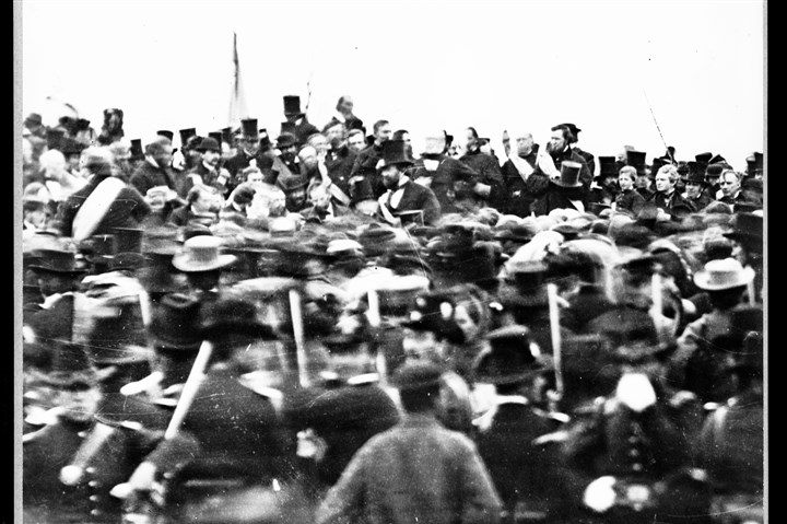 gettysburg44_nat A Nov. 19, 1863, photo by Alexander Gardner shows President Abraham Lincoln, slightly left of center with no hat, in Gettysburg at the dedication of a portion of the battlefield as a national cemetery.