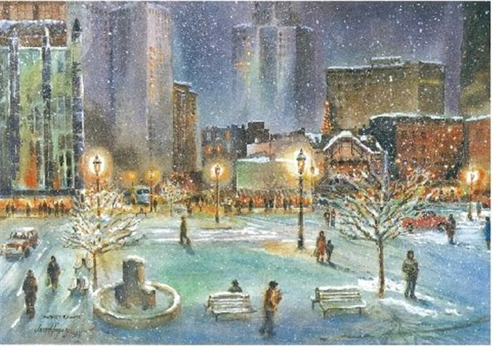 20131118MarketSquareMAG The Lupus Holiday Card depicts a winter scene in the city's Market Square.