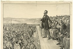 A 1905 artist's rendering from the Sherwood Lithograph Co. of President Lincoln delivering the Gettysburg Address.