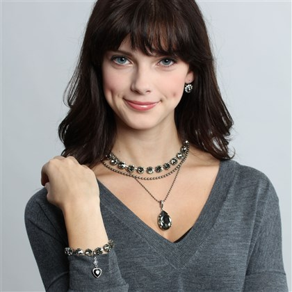 1126Sabika Sabika Grace drop earrings, $49; garden party 2-row necklace, $59; black diamond drop pendant, $59; black diamond Manhattan choker, $149; black diamond Manhattan bracelet, $75; and rhodium plated jet heart pendant, $29.