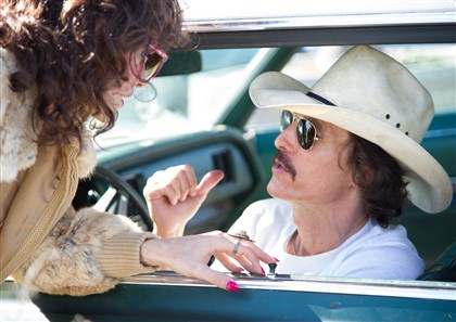 "DallasBuyersClub3-1 Jared Leto as Rayon and Matthew McConaughey as Ron Woodroof in ""Dallas Buyers Club."""