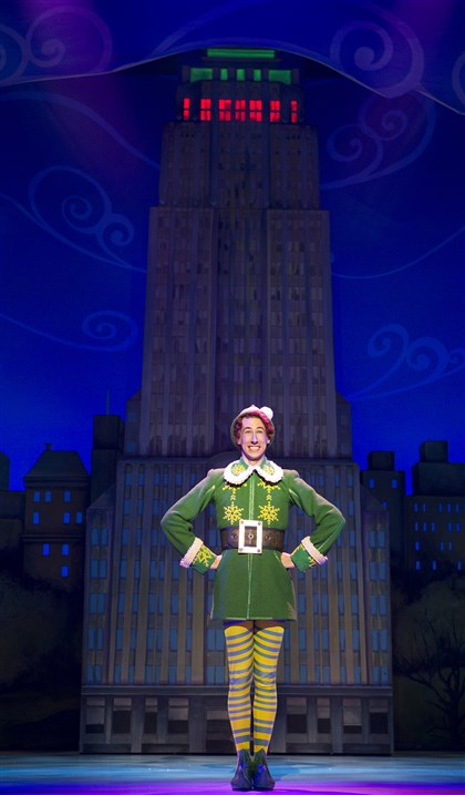 "Elf1 Matt Kopec portrays Buddy in the national tour of ""Elf the Musical,"" which opens Tuesday at the Benedum Center and runs through next Saturday."