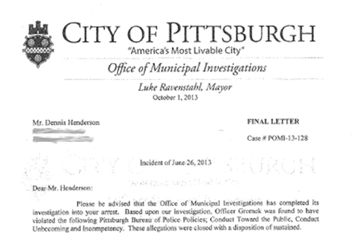 2013PittsburghLetterToHenderson The city issued its findings following Dennis Henderson's OMI complaint.