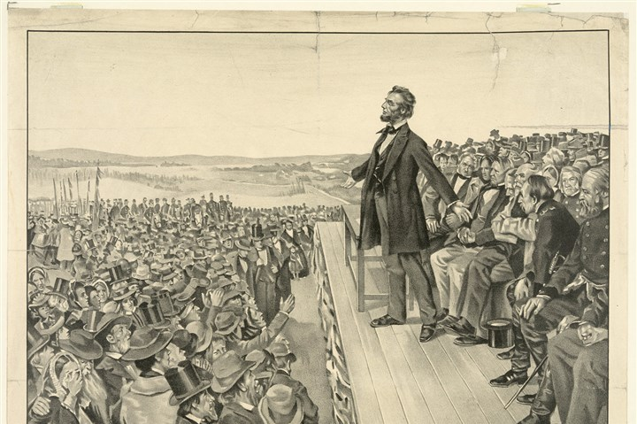 gburgtext1119 A 1905 artist's rendering from the Sherwood Lithograph Co. of President Lincoln delivering the Gettysburg Address.