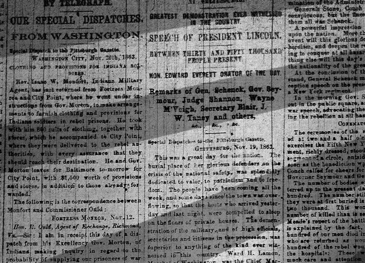clipping_19 A newspaper clipping from a 1863 issue of the Pittsburgh Daily Gazette
