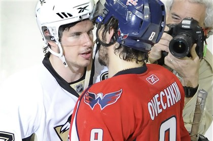 CrosbyOvechkin2-1 Sidney Crosby shakes hands with Alex Ovechkin of the Washington Capitals in 2009.