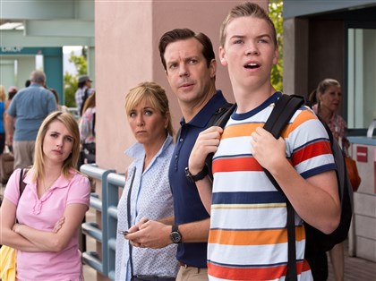 "Millersmovie From left, Emma Roberts, Jennifer Aniston, Jason Sudeikis and Will Poulter in ""We're the Millers."""