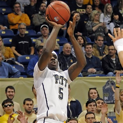 20131120mfpittsports08-6 Pitt forward Durand Johnson puts up a three-point shot against Lehigh in the first half at the Petersen Events Center Wednesday night.