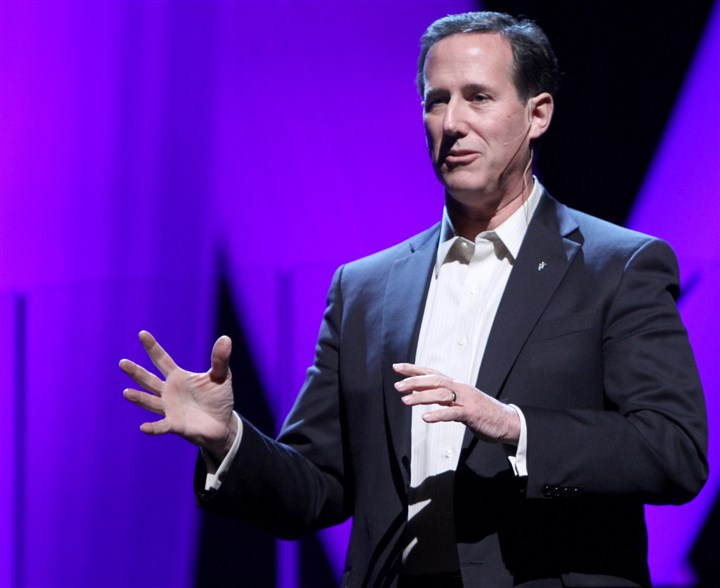 Santorum01 Rick Santorum, the CEO of EchoLight Studios, talks to the audience at Orchard Hill Church in Wexford.