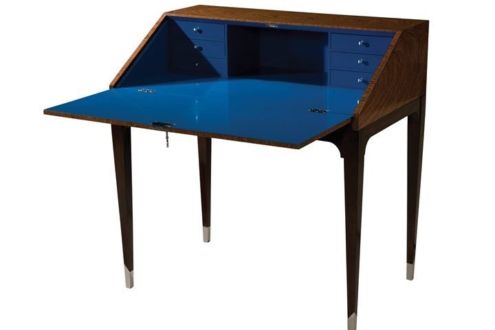Keno Bros. desk The Reveal slant top desk from Keno Bros. Collection with blue lacquer interior. The desk is fitted with a charging station.