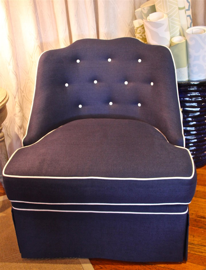 thibaut chair Thibaut chair upholstered in deep blue with white piping