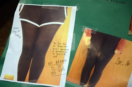 "1122mhEllisSchoolLululemonLocal04-3 Students and faculty at The Ellis School contributed stories and photos of their thighs for a poster Ms. Yam put together to protest Mr. Wilson's remarks. One student wrote for the poster: ""The last time my thighs didn't touch, I was dying of anorexia. But at least I'd fit Lulu? No brand is to die for."""