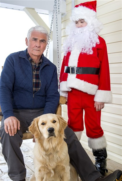 "tucker James Brolin, left, Gage Munroe and Nella in the Hallmark Movie Channel original holiday movie ""Christmas With Tucker."""