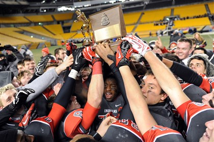 westa11241 West Allegheny teammates hoist their trophy after defeating Central Valley in the WPIAL class AAA championships at Heinz Field Saturday night.