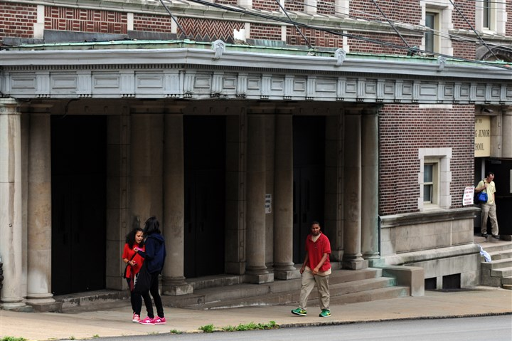 Wilkinsburg High School Students leave Wilkinsburg High School at the end of the day.