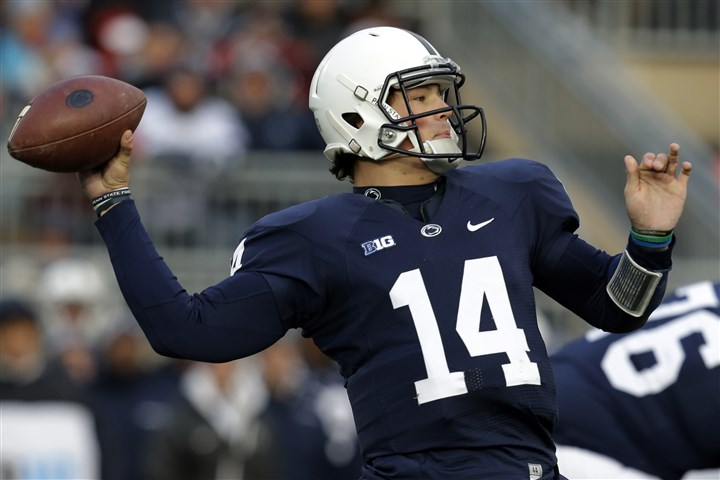 cook1124 Penn State freshman quarterback Christian Hackenberg passes in the first quarter Saturday against Nebraska.