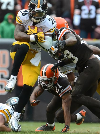 The Steelers' Le'Veon Bell The Steelers' Le'Veon Bell picks up three yards and a first down against the Browns at First Energy Stadium in Cleveland, Ohio.