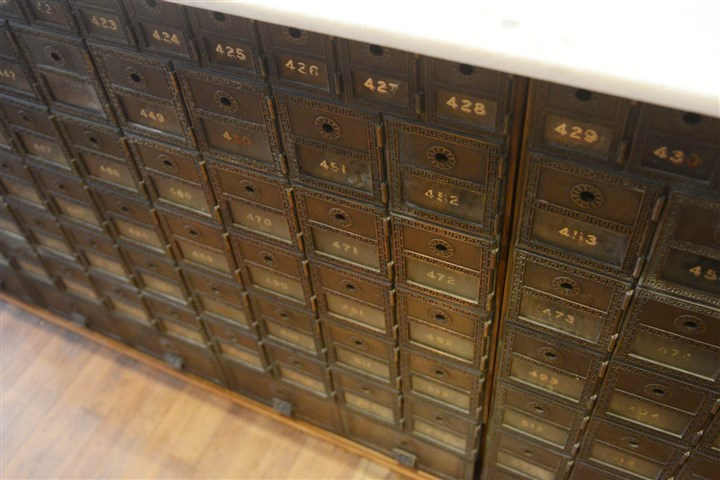 Mailboxes at Carnegie Coffee Co. and Medicine Shoppe These old mailboxes are incorporated into the counter of the Carnegie Coffee Co. and the Medicine Shoppe.