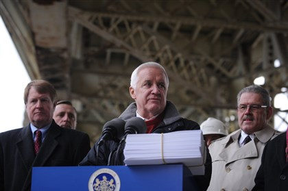 20131125jrGovLocal1 Governor Corbett talks about the transportation bill he signed into law today.