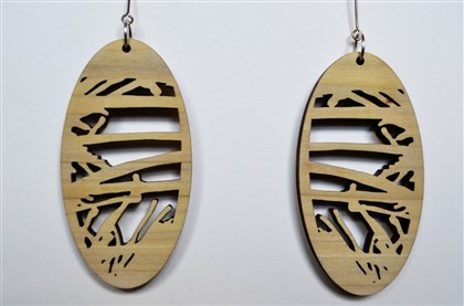 20131126handmadearcade88MAG-2 Abstract poplar and sterling silver oval earrings by Laurie Trok of TrokArt will be for sale at the Handmade Arcade.