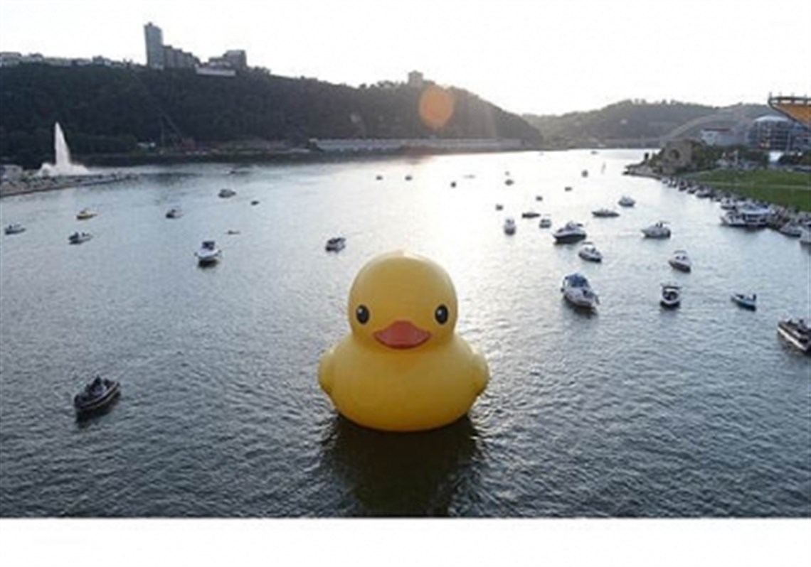 The 40 Foot Inflatable Rubber Duck Is Towed Down The Allegheny River On Its  Way
