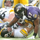 Steelers quarterback Ben Roethlisberger is sacked hard to the M&T Bank Stadium turf by the Ravens Bart Scott in 2006.