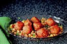Spiced Turkey Meatballs with Smashed Chickpea Salad
