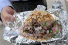 Steak, onion and cilantro taco
