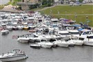 Country singer Kenny Chesney's fans moor their boats along the North Shore as they await the 2013 concert at Heinz Field.