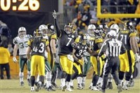 Steelers QB Ben Roethlisberger celebrates on the last play of the game after beating the Jets for the AFC Championship in January 2011. Since the merger in 1970, the Steelers are 20-8 in home playoff games.