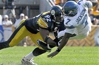 James Harrison sacks Seattle quarterback Tarvaris Jackson during a game at Heinz Field in 2011.
